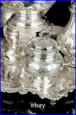 Antique Solid Sterling Silver Tea Set. 7,8 kg. Spain, Early 20th C