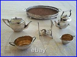 Antique Sterling Silver MINIATURE TEA SET with st. TRAY 6 Pieces Birmingham 1905