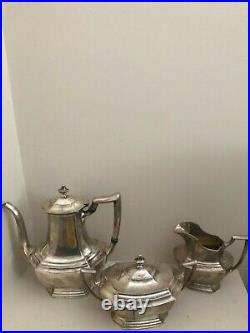 Antique Sterling Silver Tea Set by Wallace-3 Piece Set-The Washington #1850