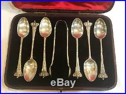 Antique Sterling Silver Tea Spoon Set withSugar Tongs & Case England London 1897