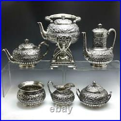 Antique Tiffany & Co. Repousse Sterling Silver Coffee & Tea Set with Water Kettle