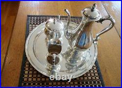 Antique Tiffany Sterling Silver Matched Tea Set With Tray