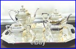 Antique Wallace Sterling Silver Dauphine 6 pc Tea Set w Waste & Tray No. 2300
