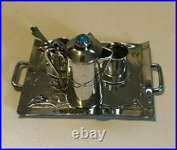 Art Acoya Navajo miniature sterling silver tea set withturquoise FREE SHIPPING