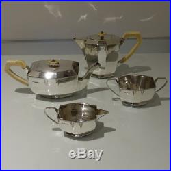 Art Deco 20th Cent George V Sterling Silver Four Piece Tea & Coffee Set on Tray