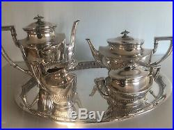 Art Deco Kuhn STERLING SILVER TEA/COFFEE SET with tray 2830 gr