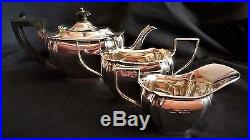 Bachelors 3 Piece English Sterling Silver Tea set by R F Mosley Sheffield 1917