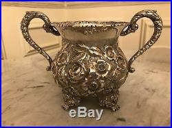 Baltimore Rose Schofield 17oz Sterling Silver Repousse Footed Sugar Bowl tea set