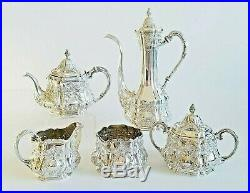 Beautiful 19C Sterling Silver Repousse Gorham Coffee Tea Service Set