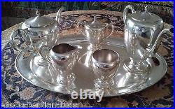 Beautiful And Heavy Complete Sterling Silver Tea And Coffer Set By Fred Hirsch
