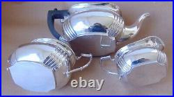 Beautiful Antique Sterling Silver Fluted 3 Piece Tea Set 1913