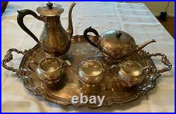 Birks Sterling Silver George IV Pattern 5 Piece Tea Set and Tray
