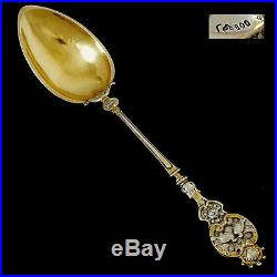Bruckmann & Söhne Sterling Silver Gold Tea Coffee Spoons Set 12 pc, Doves