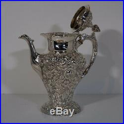 C. 1900 Stieff 800 series STERLING Repousse tea set, with 6pc
