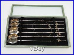 CHINESE STERLING SILVER 950 SET OF ICE TEA /STRAWS SPOONS, Original box 9L