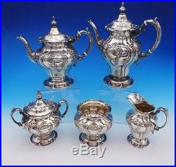 Chantilly Duchess by Gorham Sterling Silver Tea Set 5pc Hand Chased (#3216)