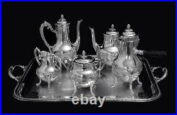 DOUTRE-ROUSSEL 6pc. FRENCH 950 STERLING SILVER TEA SET + CHRISTOFLE TRAY 1890s