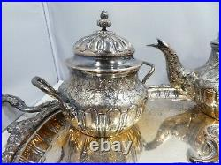 Diminutive Spanish 5 Piece. 915 Sterling Silver Tea And Coffee Set And Tray