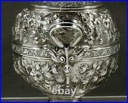 Dominick & Haff Sterling Tea Set 1875 HAND DECORATED
