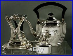 Durgin Sterling Tea Set Kettle & Stand c1920 Hand Decorated