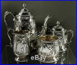 Durham Sterling Silver Tea Set c1950 Hand Decorated