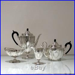 Early 20th Century Antique Edwardian Sterling Silver Four Piece Tea & Coffee Set