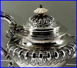 English Sterling Silver Tea Set 1845 William Hunter