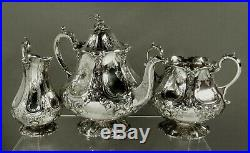 English Sterling Silver Tea Set 1860 GOTHIC REVIVAL
