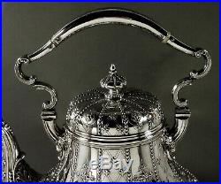 English Sterling Tea Set Kettle & Stand 1870 Abercrombie 86 Oz