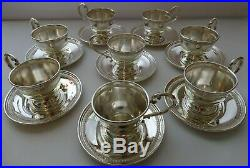 FISHER STERLING 600 Silver Tea & Coffee Cup Holders & Plates 8 Persons Set