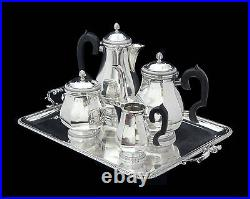 FRENCH ART DECO STERLING SILVER TEA SET, STERLING TRAY 1900-1940, Ernest Prost