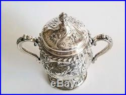 Fine Antique Sterling Silver F. Whiting & Co. Tea/Coffee Service Set Hand Chased