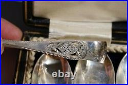 Fine Set of 6 Celtic Cross Sterling Silver Tea Spoons and Tongs 1917