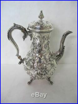 GORGEOUS 19TH CENT. SPECIAL ORDER KIRK AND SON sterling REPOUSSE 6 PIECE TEA SET