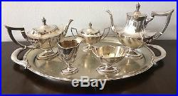 GORHAM Sterling Silver Plymouth Coffee Tea Pot Set + Tray 6 Pc NO MONOGRAM