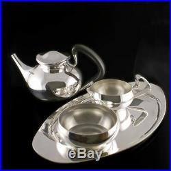 Georg Jensen Silver Tea Set with Tray #1051 and #1017 VINTAGE