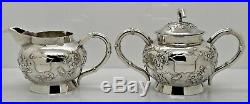 Good CHINESE EXPORT SILVER 3 piece TEA SET. BIRDS & FLOWERS. Tuck Chang c. 1900