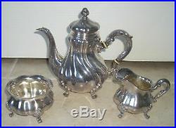 Gorgeous Early1900's Sterling Silver 3pc Tea or Coffee Set With Lion Crest