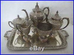 Gorgeous Manchester Southern Rose Repousse Sterling Silver Tea Set With 7 Pcs