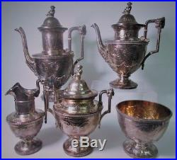 Gorgeous Tiffany & Co Makers NY 1850's Sterling Silver 925 5 PCS Tea Set