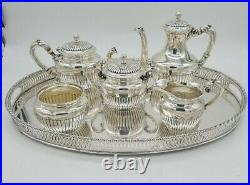 Gorham Sterling Silver Tea & Coffee Set With Silver Gallery Tray