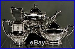Gorham Sterling Silver Tea Set 1912 HAND DECORATED 54 OUNCES