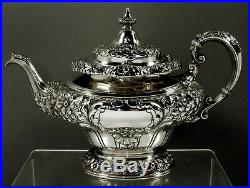 Gorham Sterling Tea Set 1917 Hand Decorated 80 Ounces