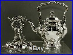 Gorham Sterling Tea Set Kettle & Stand 1912 Hand Decorated