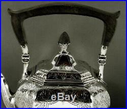 Gorham Sterling Tea Set Kettle & Stand 1917 Hand Decorated