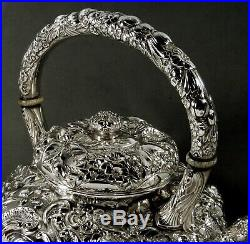 Gorham Sterling Tea Set Kettle & Stand c1890 Hand Decorated