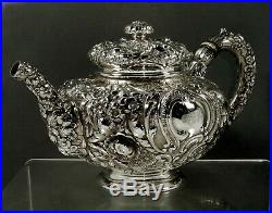 Gorham Sterling Tea Set c1890 Hand Decorated 63 Ounces