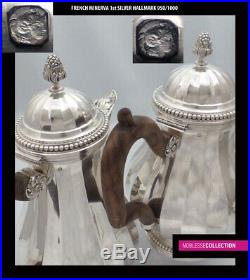HEAVY ANTIQUE 1900s FRENCH STERLING SILVER TEA & COFFEE SET 4pc 2829 grams