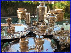HUGE 5pc OLD TEA COFFEE SET TRAY GERMAN REPOUSSE STERLING SILVER HEAVY HANDMADE