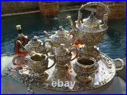 HUGE 7pc OLD BALTIMORE TEA COFFEE SET TRAY KETTLE REPOUSSE STERLING SILVER 361oz